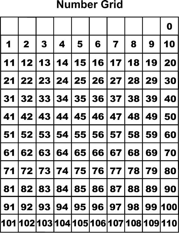 Printable number grid 100 maxs maths pinterest for 100 square table