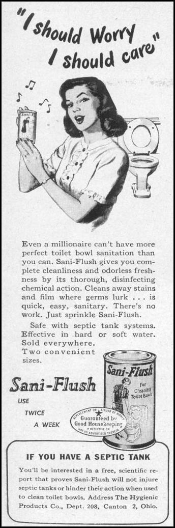 SANI-FLUSH TOILET BOWL CLEANER WOMANS DAY 05/01/1947 p. 108 | 1940\'s ...