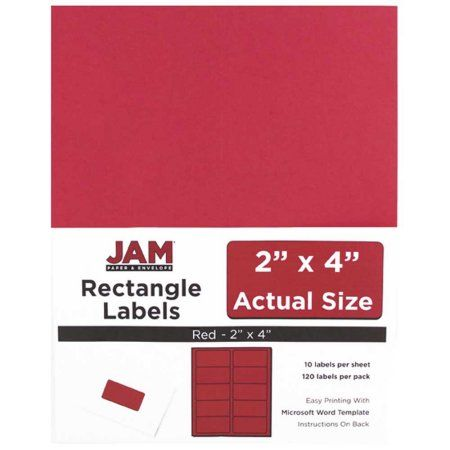 JAM Paper Mailing Address Labels, 2 inch x 4 inch, Red Kraft, 10 - 2 X 4 Label Template 10 Per Sheet