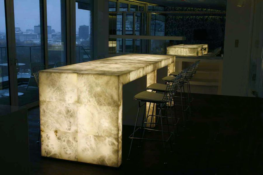 Alabaster Tables At The London Four Seasons Gaze Out Upon A Typical London  Day. Backlit