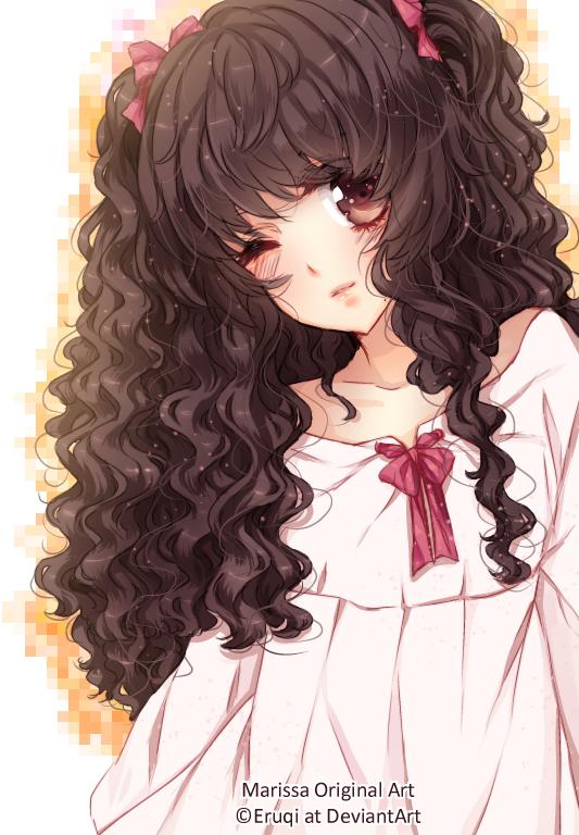 Art Trade With This Is Her Utau Character Tsukiko Hikari It Was Fun To Draw Very Much I Hope You Like It Anime Curly Hair Curly Girl Hairstyles Manga Hair