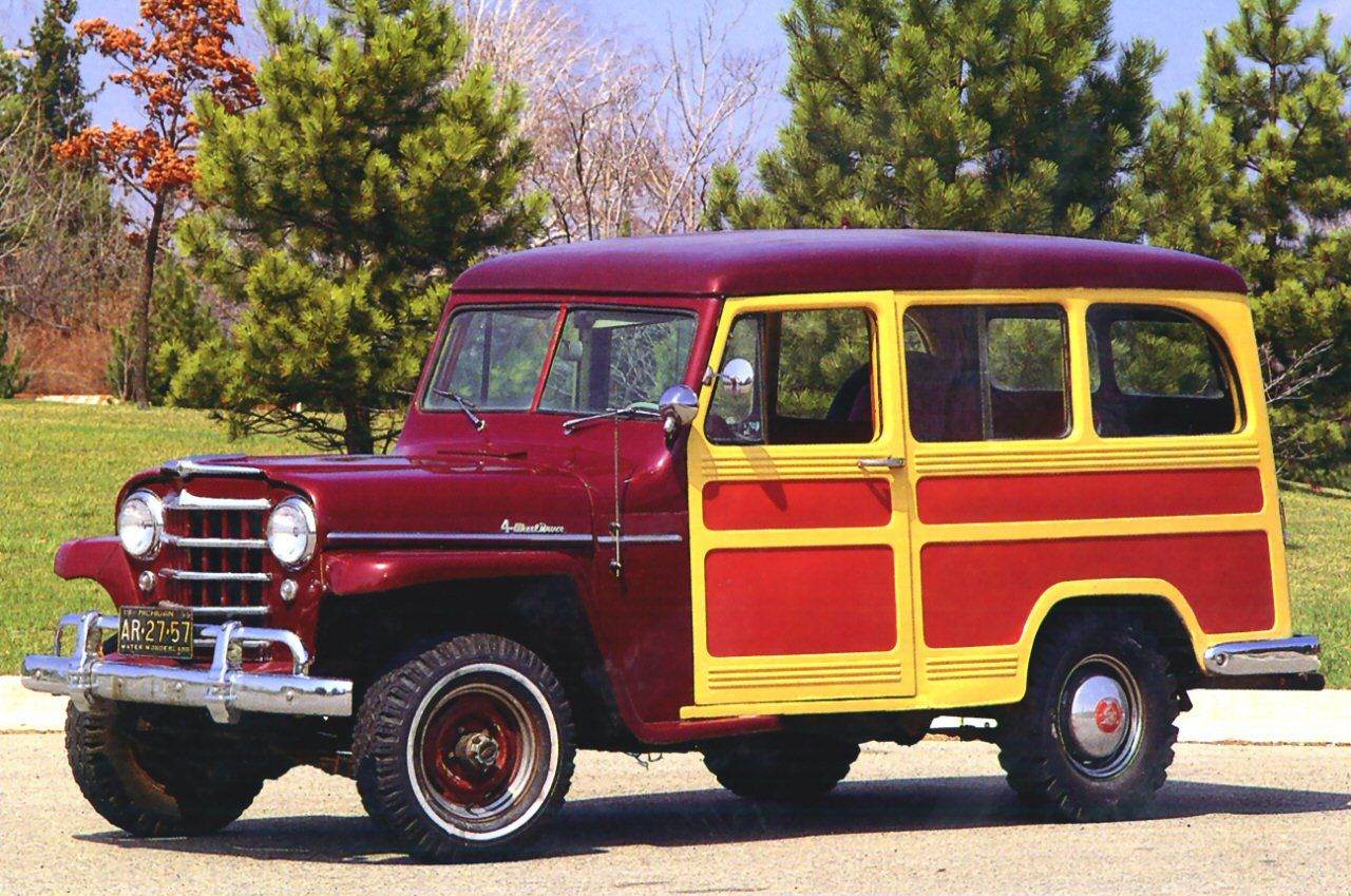 Cars 1955 willys jeep utility wagon with cladding maroon fvl