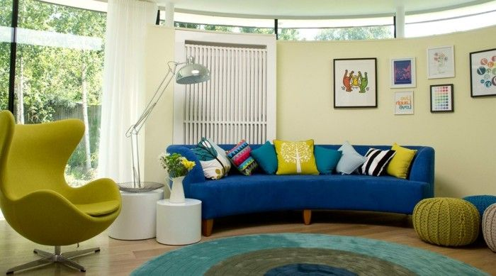 Blue Sofa Of Yellow Armchair Stool White Curtains Round Carpet Colour Kover Dlya Gostinoj Sinie Divany Nebolshie Gostinye