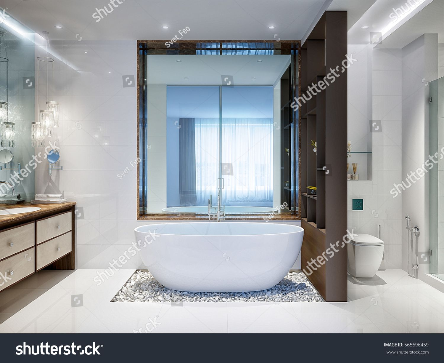 Spacious and bright modern bathroom with white tile, large mirror ...