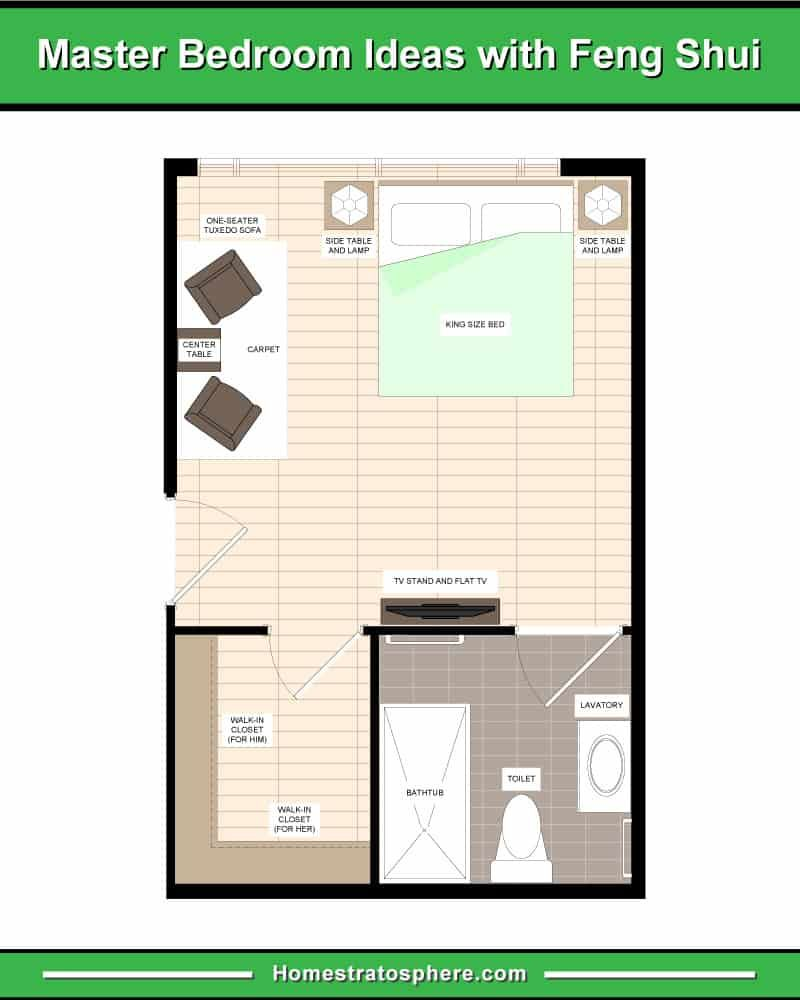 This Ultimate Bedroom Feng Shui Guide Sets Out 17 Layout Diagrams Showing Good And Bad Master Bedroom Layout Small Master Bedroom Layout Feng Shui Your Bedroom