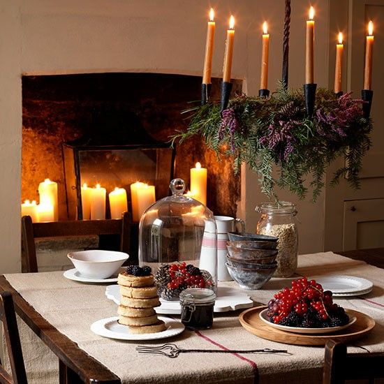 Rustic Christmas Dining Room With Fireplace Candles