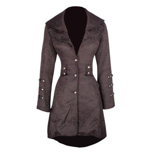 Black Brocade Coat with Pockets