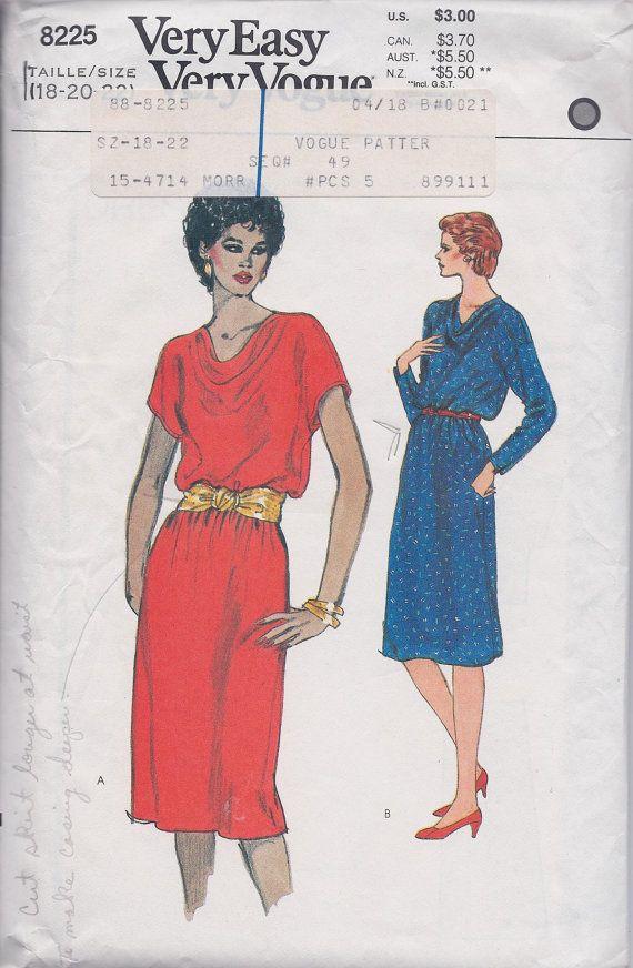 Vogue 8225 Womens Plus Size Draped Neckline Dress By Reduxpatterns