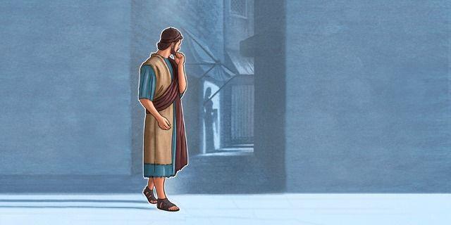 Um jovem olha para a casa de uma mulher imoral