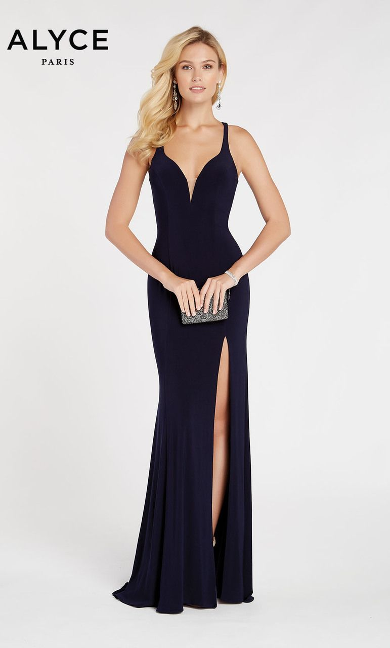 d1f0b2931074 Alyce Paris Style 60282 Fitted Jersey Dress With Low V Neck, Strappy Back,  And High Front Slit. Colors Available: Navy, Burgundy, Black Plum, And Pine.