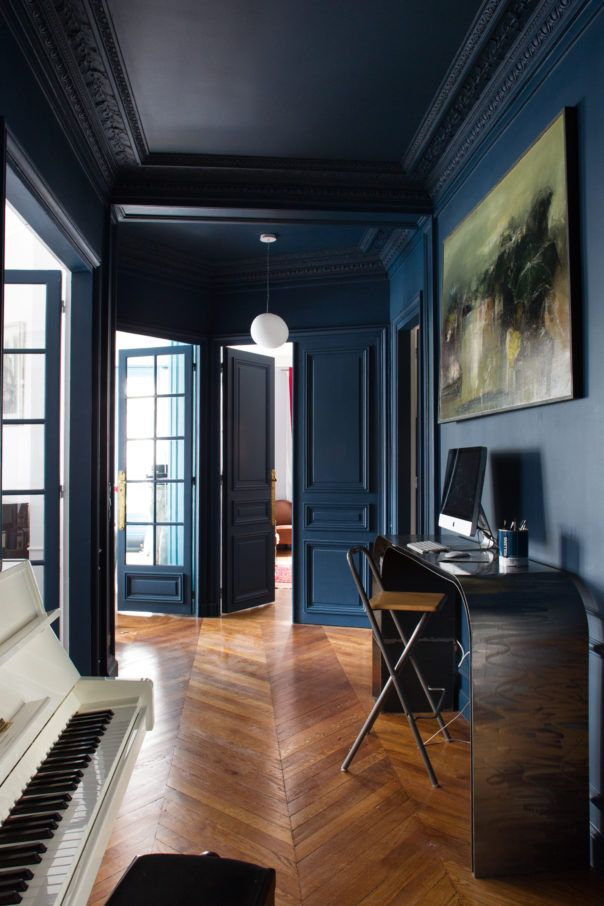 Dark Ceiling And Parquet Floor In Blue Hallway Looks Incredible
