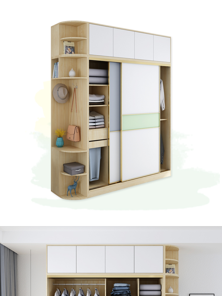 Modern Style Sliding Door Clothes Cabinet Bedroom Furniture Set Garderobe Multifunction Armoire Wardrobe Design Bedroom Clothes Cabinet Bedroom Clothes Cabinet