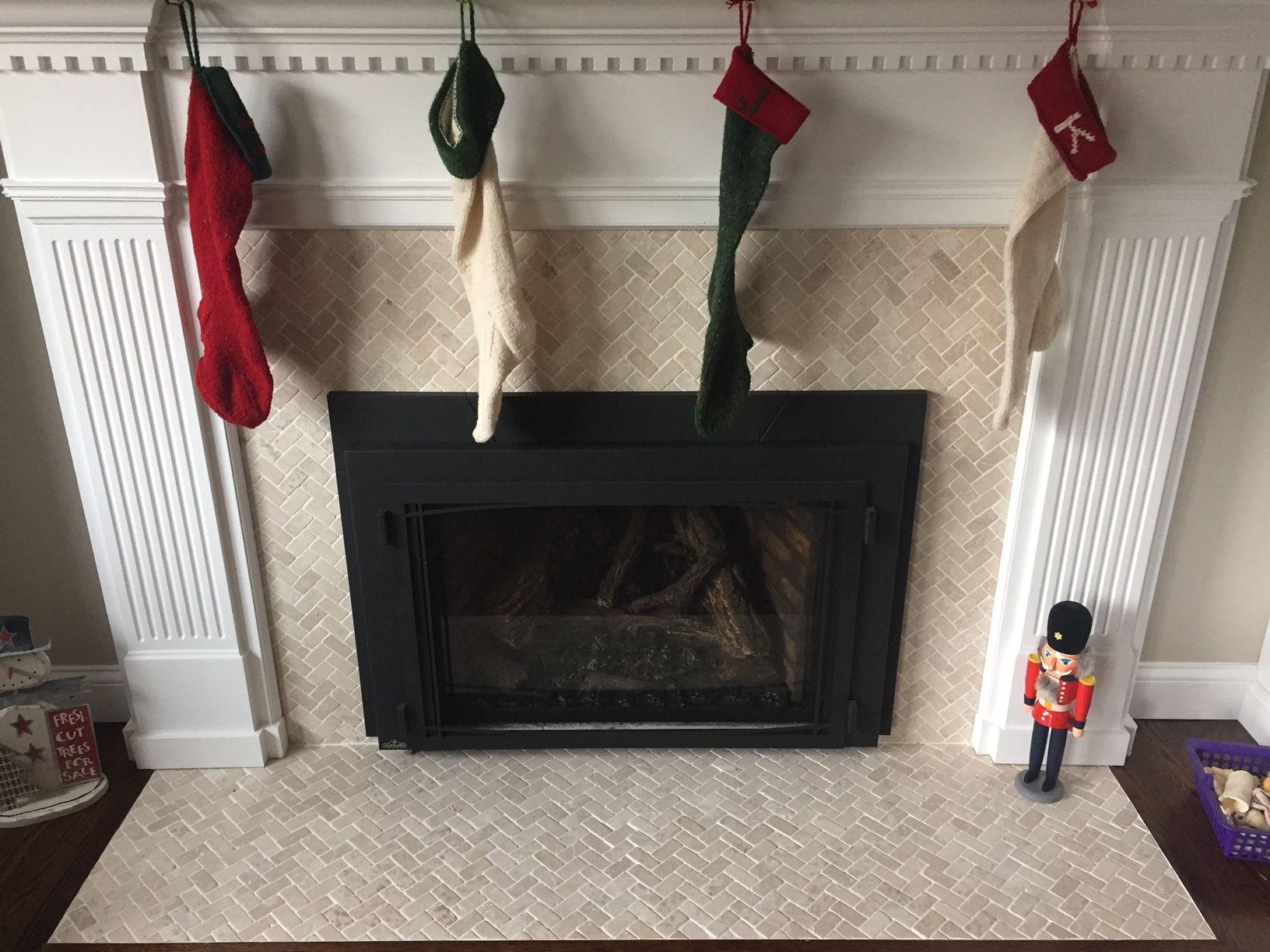 Cream Herringbone Stone Mosaic Tile Fireplace