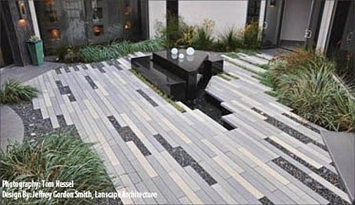 I Like These Concrete Pavers That Are Long And Skinny Not The Same Old Square Or Brick Stuff Modern Landscaping Fountains Outdoor Outdoor Fireplace Designs