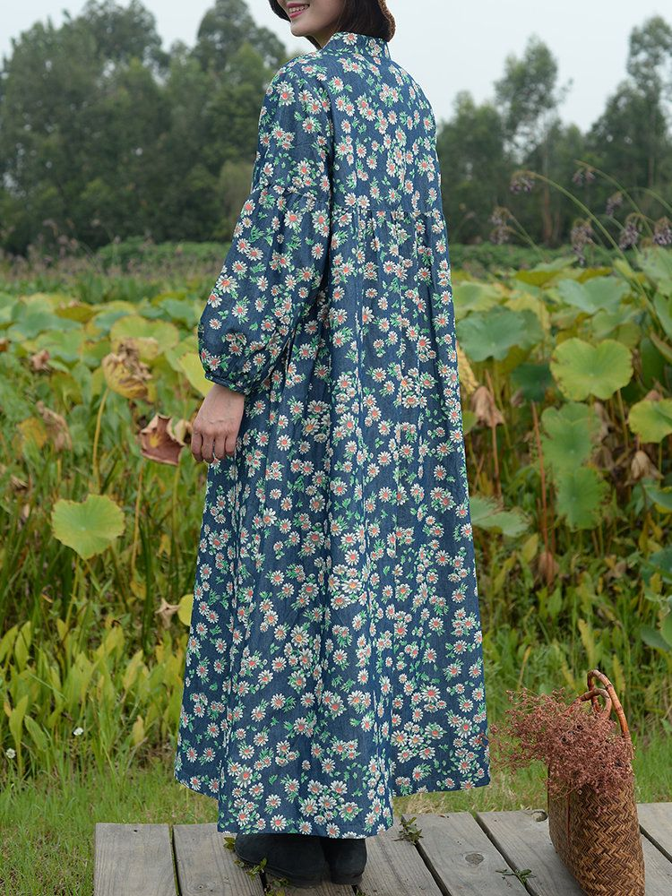 e5ccd5e1ed81 ZHI Vintage Floral Printed Plate Buckles Maxi Shirt Dresses For Women