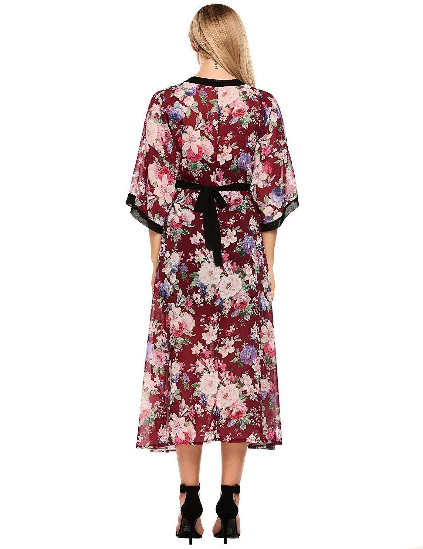 Zeagoo womenus sleeve floral kimono cardigan chiffon wrap maxi