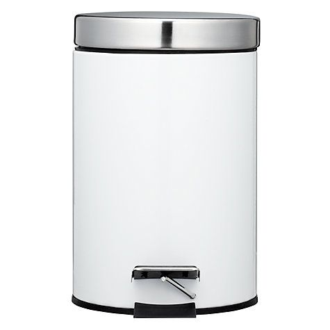 White Bathroom Bin new york white gloss pedal bin, 3l | john lewis, bathroom bin and