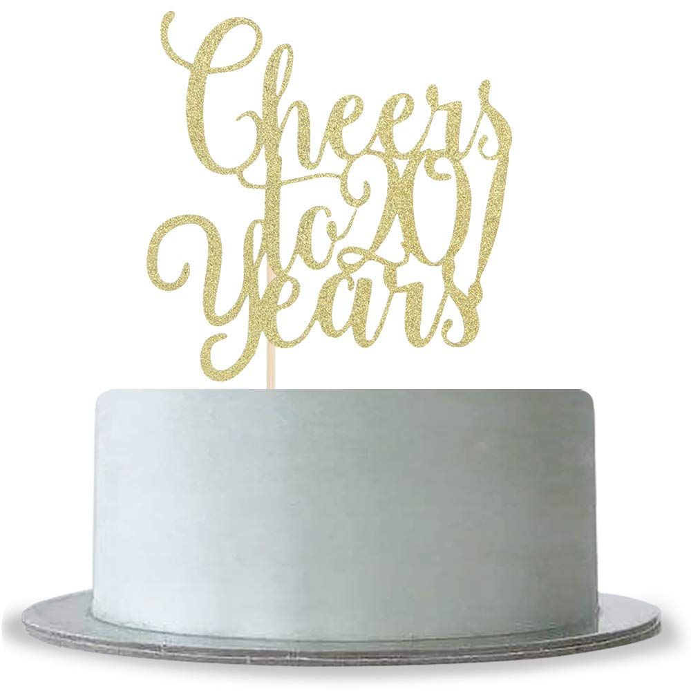 Happy Birthday Party Topper Gold Glitter Anniversary Wedding Cake Decor Supply