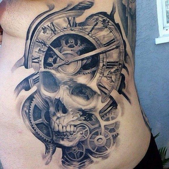 Skull Tattoo And Clock Mechanisms Tattoo On Ribs By Josh Duffy