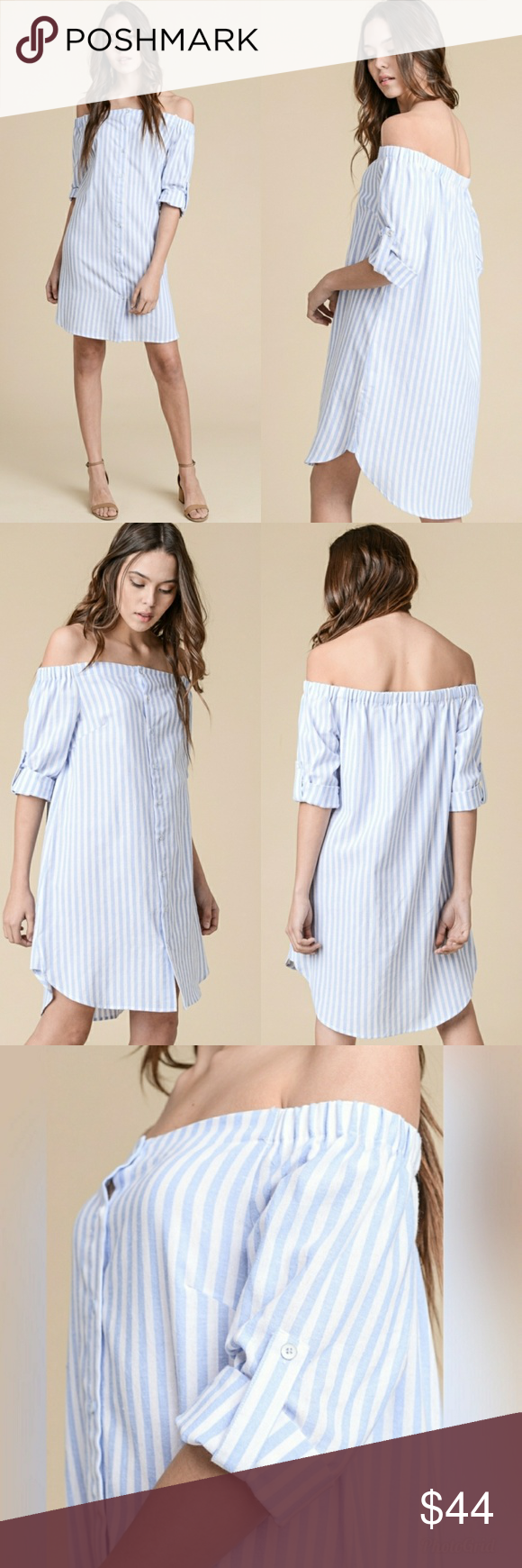 8ae214d029628 Off the Shoulder Dress Blue and white striped dress. Off the shoulder