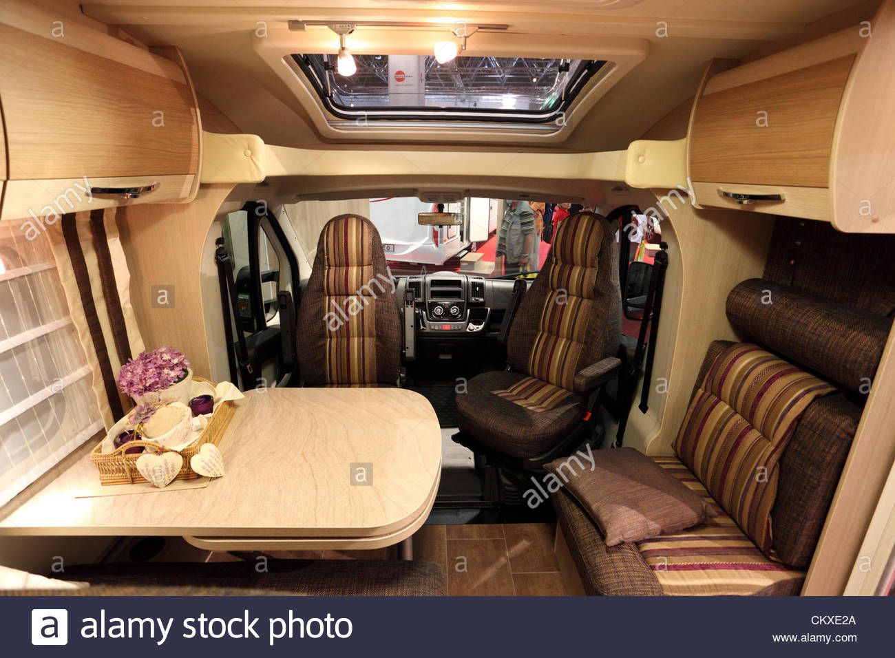 Interior Of A Modern Camper Van At The Caravan Salon Exhibition 2012