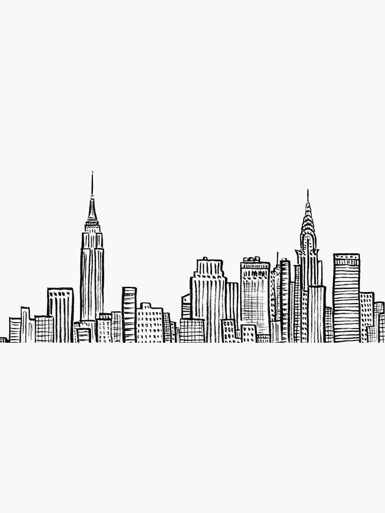 Pegatina Skyline De La Ciudad De Nueva York De Jackie Sullivan Dibujos De Edificios Silueta De Edificios Nueva York Pintura