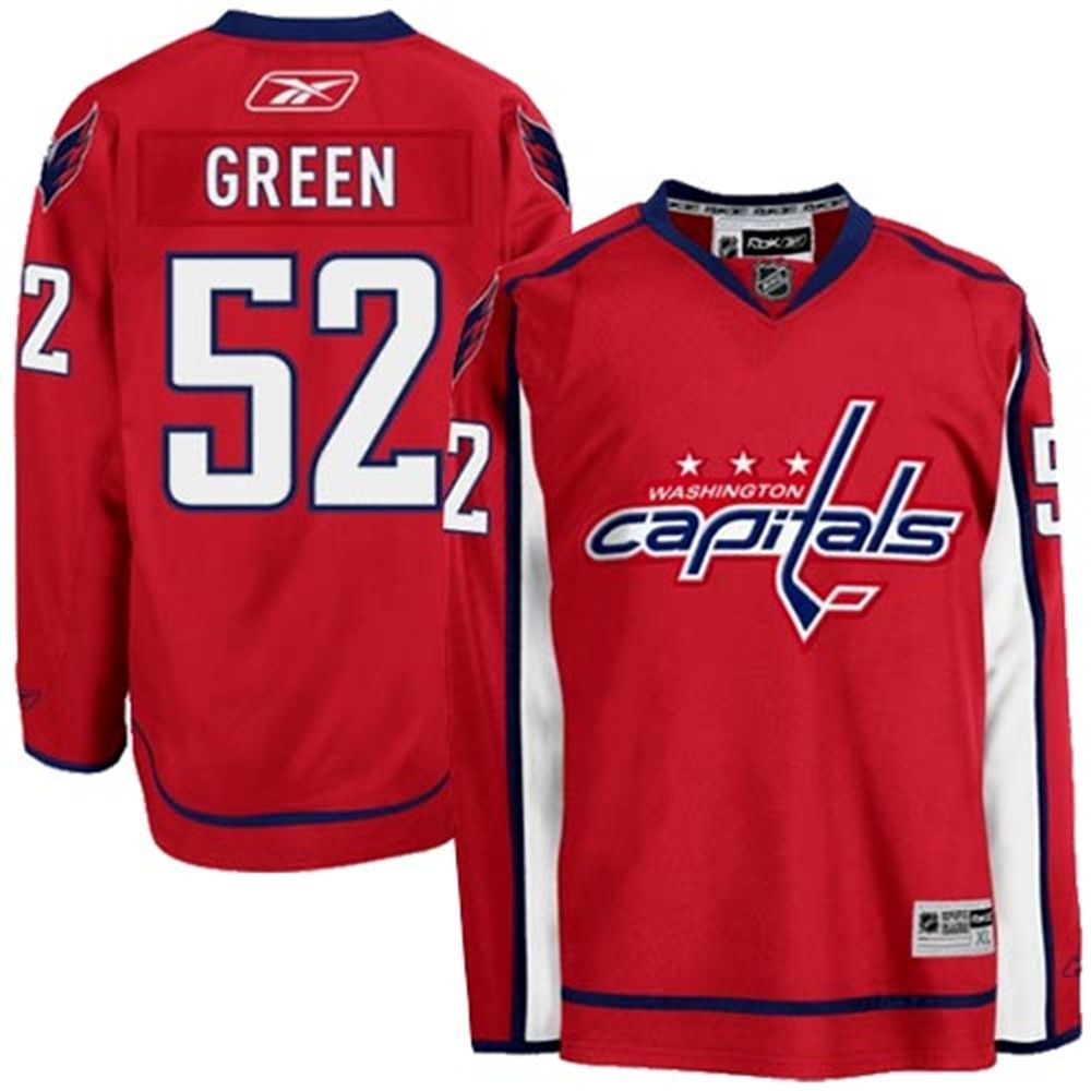 Mens Washington Capitals  52 Mike Green Reebok Red Premier Player Hockey  Jersey 157c8a80d