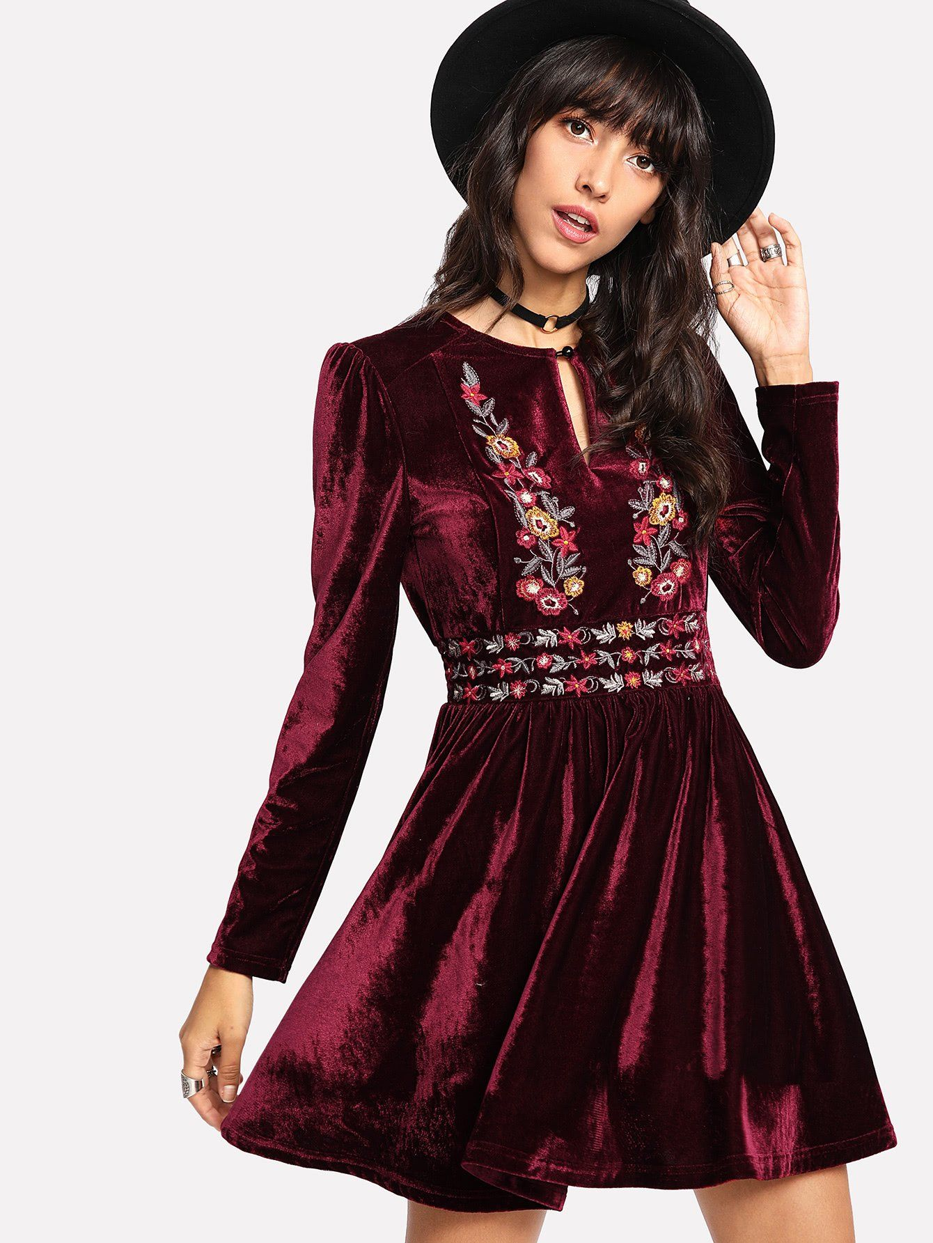 Buttoned keyhole front embroidered velvet dress fashion