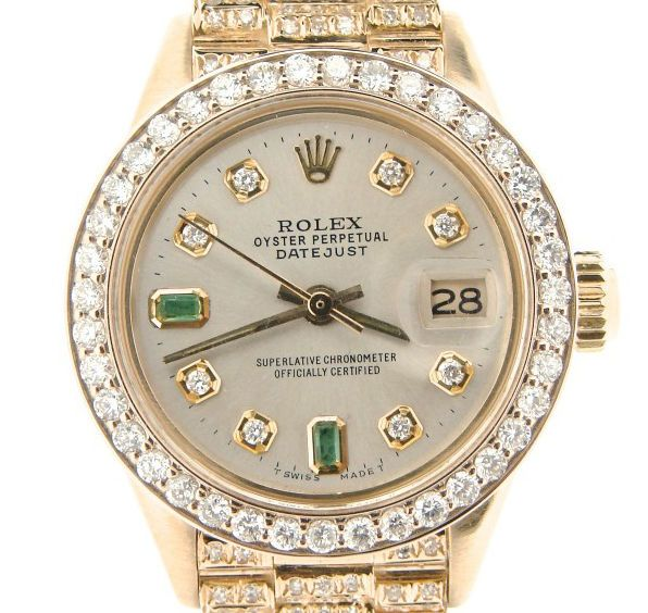 Ladies Rolex Solid 18k Yellow Gold Datejust President Diamond Dial Bezel Band Rolex Datejust Wrist Watch
