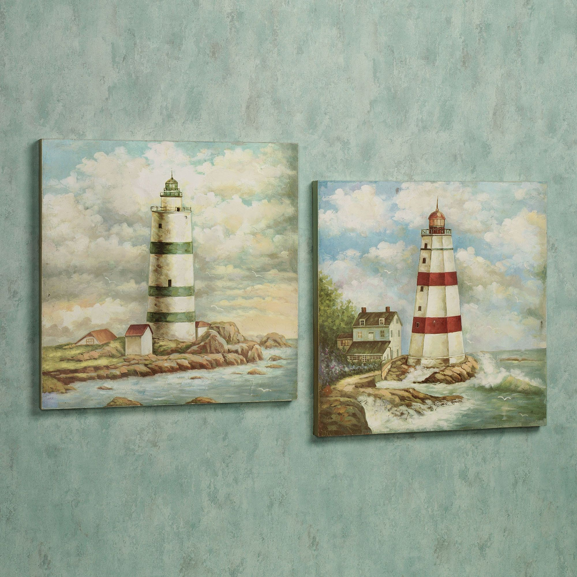 lighthouse harbor wooden wall art plaque set | bagno del faro