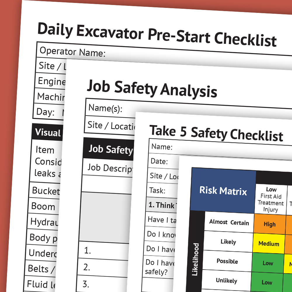 Excavation Earthmoving Business Package Safety Management System Safety Checklist Risk Matrix