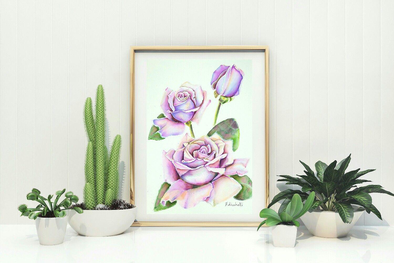 Acquerello con rose lilla boccioli e ramoscello quadro