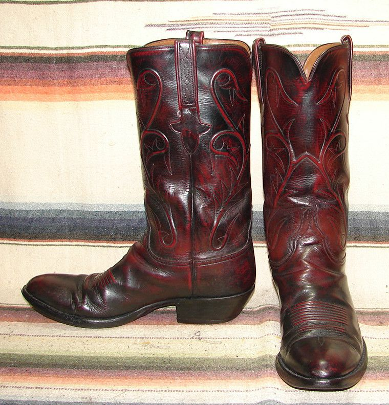 95c49087b54 Vintage Lucchese cowboy boots, dark red with embossed design ...
