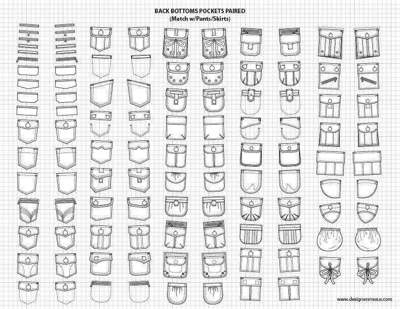 Pants Skirts Pockets 2 Adobe Illustrator Flat Fashion Sketch Templates 49 95 Full Set Fashion Sketch Template Fashion Design Template Technical Drawing