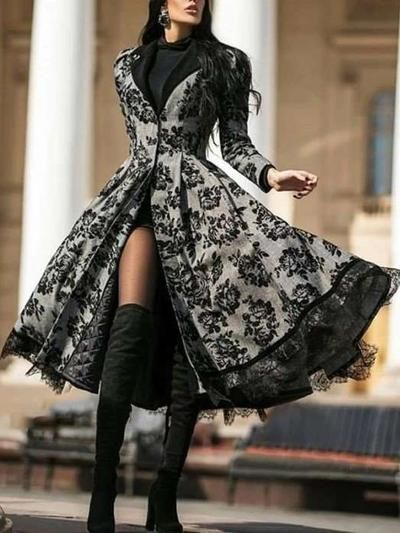 Photo of Fashion Print Lace Lapel Long sleeve Coat Maxi Dresses