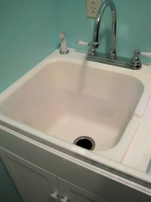 Laundry Sink Complete With Beadboard Cabinet Underneath