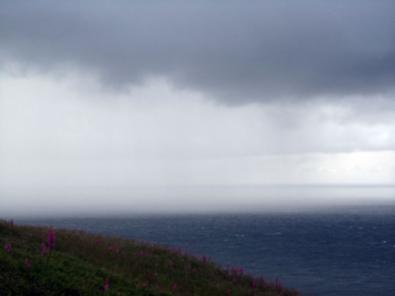Rain sweeping across the Bristol Channel towards Ilfracombe