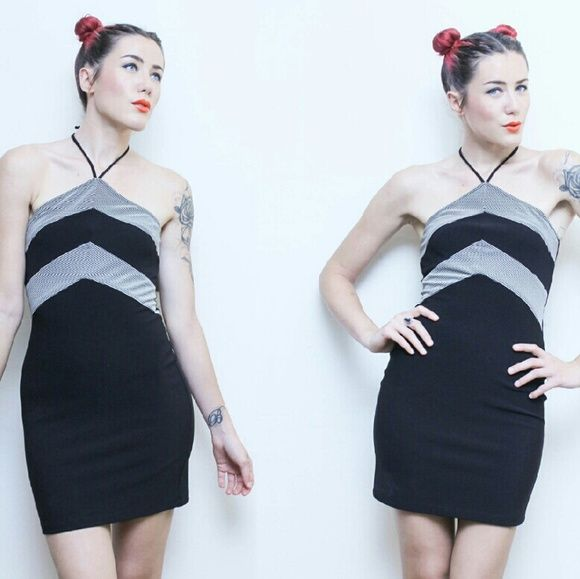 90s Bodycon Striped Halter Dress Sexy fitted mini dress with stretch knit material. Killer 90s look. Comfortable, sporty and edgy! Vintage Dresses Mini