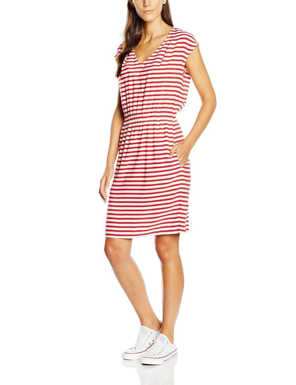 Vestido hipster mujer manga corta con diseño de rayas rojas y ...