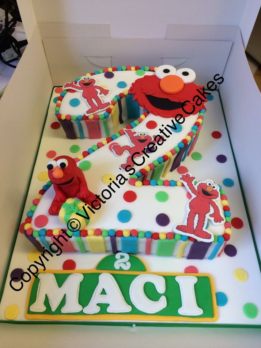 Number 2 Shaped Cake : Elmo Sesame Street number 2 birthday cake Kiddie Cakes ...
