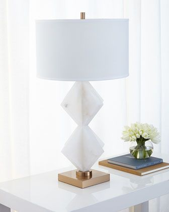 Triangular Stacked Alabaster Table Lamp By John Richard Collection