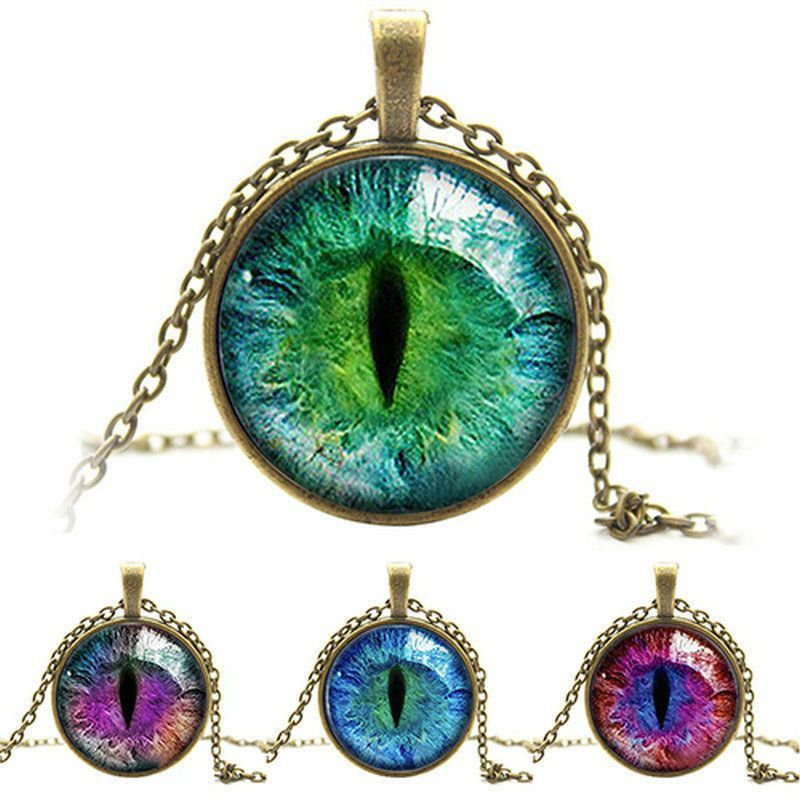 Fashion Quite Colored Dragon Cat Eye Glass Cabochon Plated Pendant Necklace New