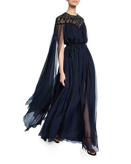 Zuhair Murad Lace-Wing Long Gown