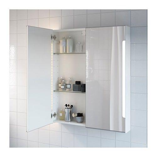 STORJORM Spiegelschrank m 2 Türen+int Bel, weiß Bad Pinterest