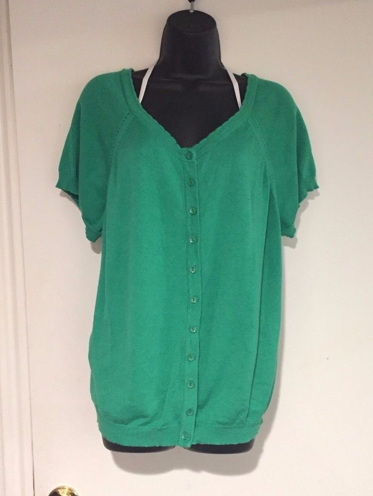 ModCloth 3X Green Short Sleeve Cardigan Sweater with Scalloped ...