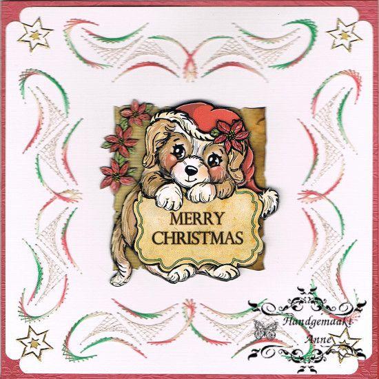 Geborduurde kerstkaart met patroon van stitch & do
