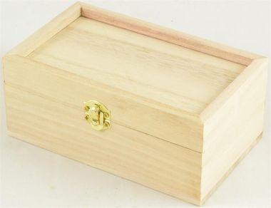 "Rectangular Wooden Box with Recessed Lid 5.75"""" x 3.5"""""