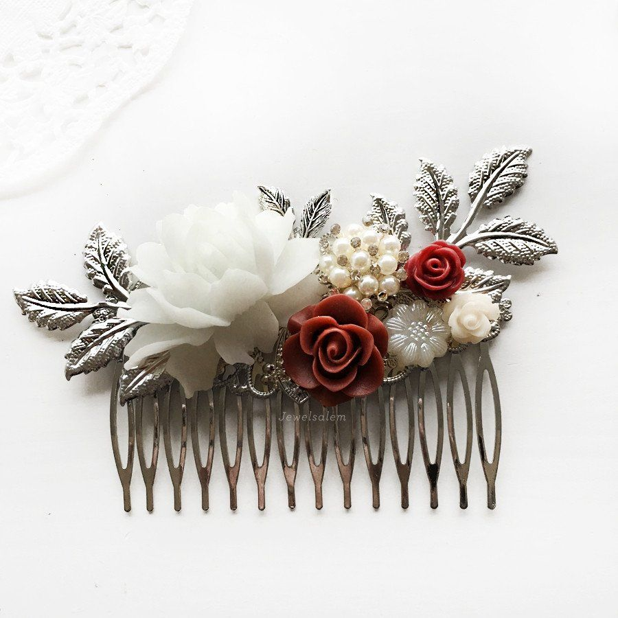Delilah - Burgundy Red Wedding Hair Comb | Red wedding hair, Red ...
