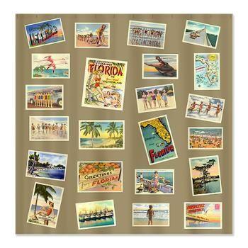 vintage florida decore | Vintage Florida Postcards Shower Curtain | Korpita Coastal, Vintage ...