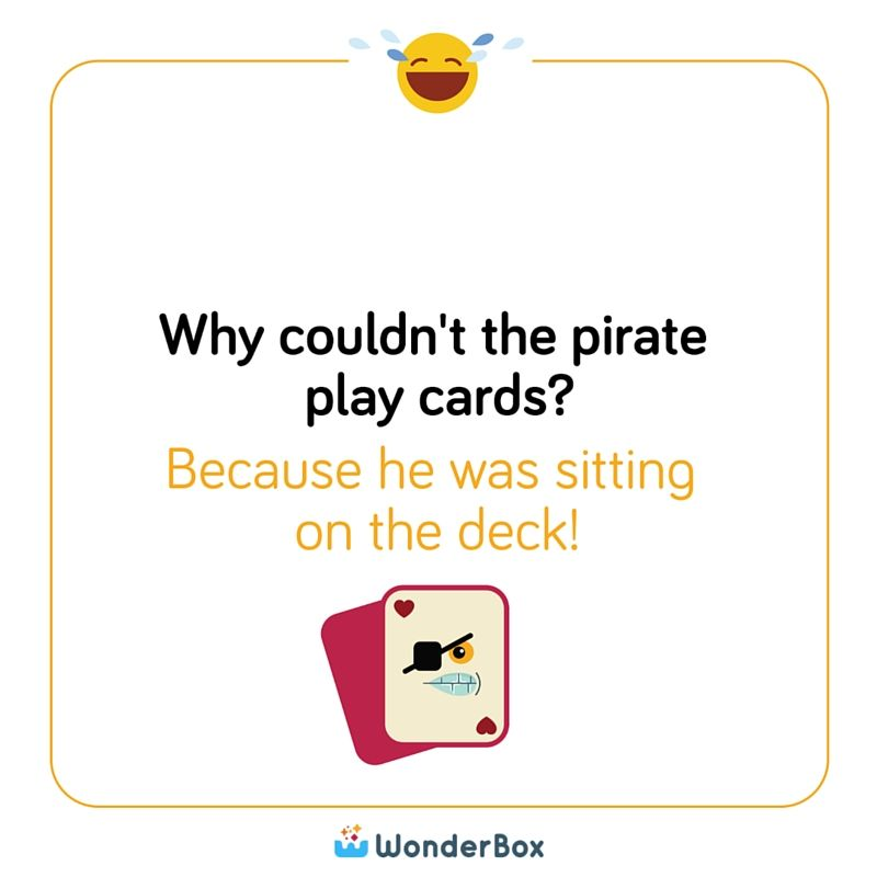 Why couldn't the pirate play cards? Answer: Because he was sitting ...